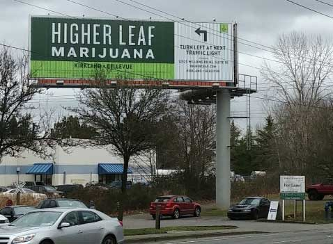 Retail signboard for a pot shop in Seattle.